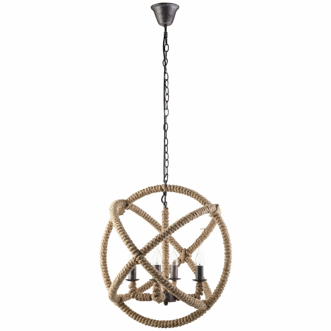 Intention Rustic 3-dimensional Orbit Corded Rope Chandelier, Brown