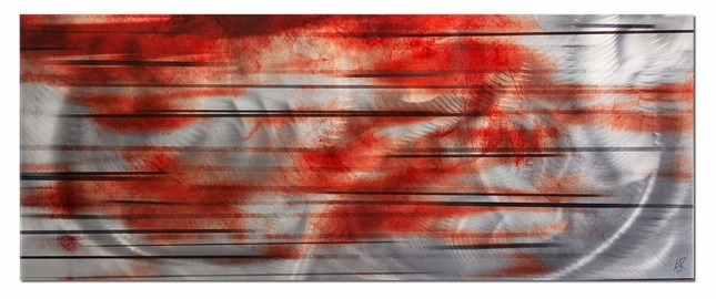 Interlude Red/Black Streak Abstract Modern Metal Wall Art L0024