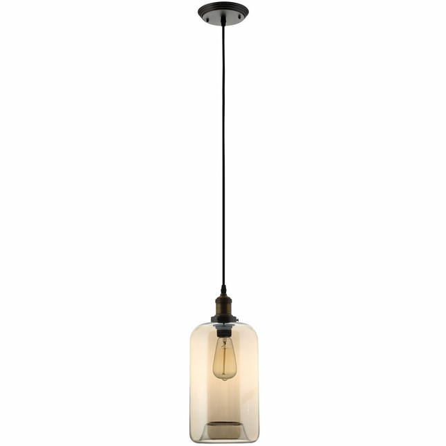 Intrigue Industrial Modern Glass Vessel Pendant Chandelier, Black