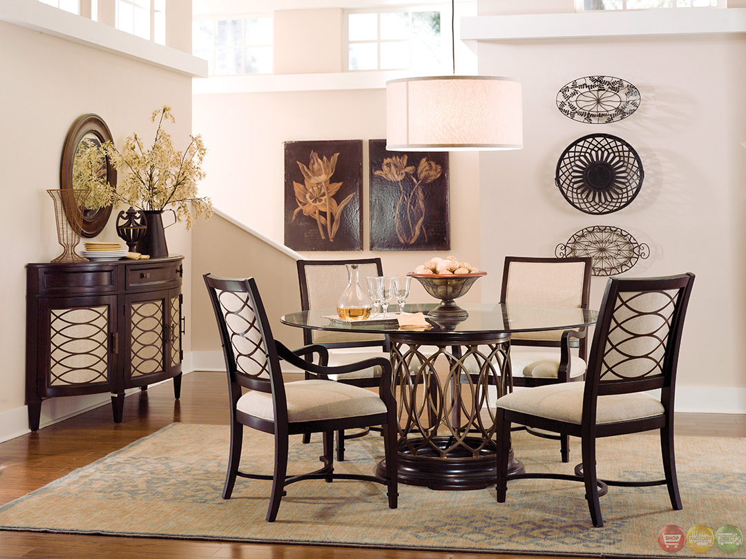 Intrigue transitional round glass top table chairs for Dining room table sets