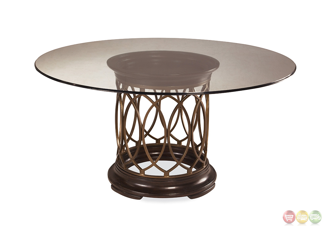 Intrigue transitional round glass top table chairs for Best dining table set