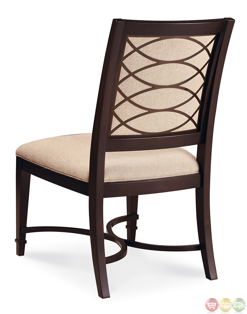 Intrigue transitional contemporary dark wood formal dining for Formal dining chairs