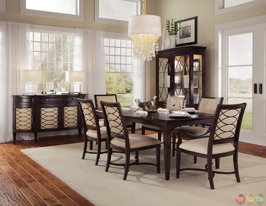 intrigue transitional contemporary dark wood formal dining furniture set upholstered chairs. Black Bedroom Furniture Sets. Home Design Ideas