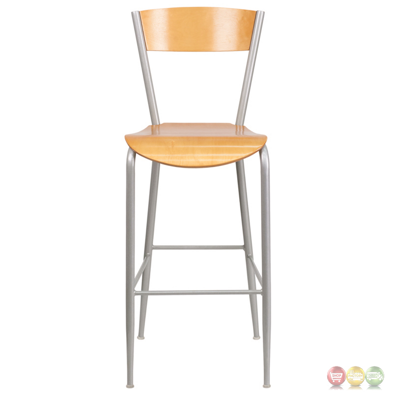 Invincible Series Metal Restaurant Barstool Natural Wood Back Seat
