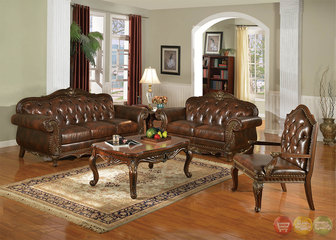 Irina traditional dark wood formal living room sets with for Traditional living room sets