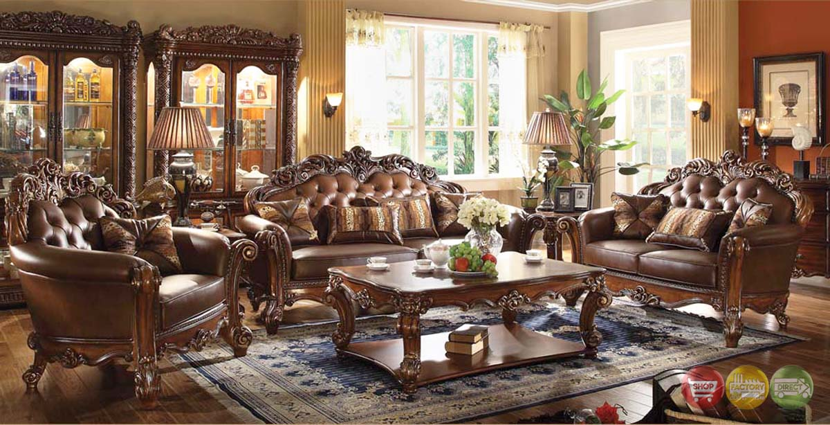 Vendome traditional dark wood 3pc formal living room set for Wooden living room furniture