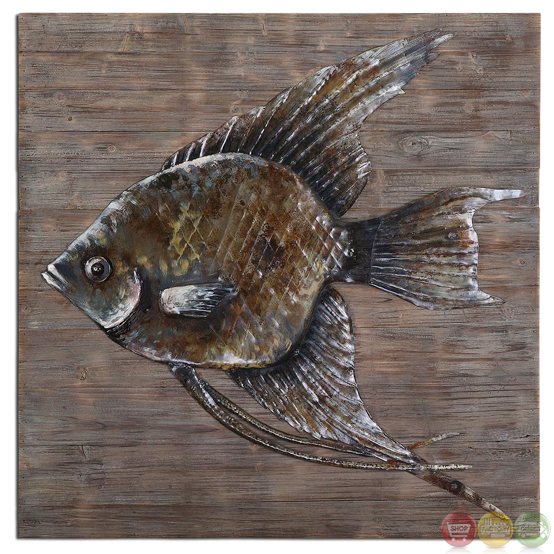 Iron fish rustic burnished gray glaze metal wall art 04273 for Metal fish art wall decor