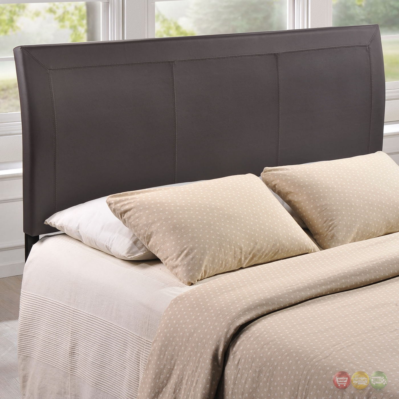 Isabella Contemporary Faux Leather Queen Headboard Brown