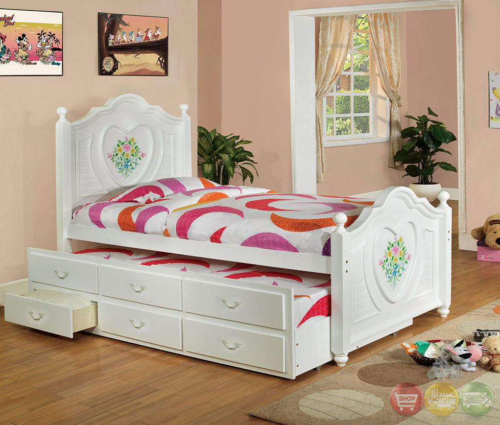 Isabella ii white platform bedroom set with trundle and 3 - Bedroom sets with drawers under bed ...