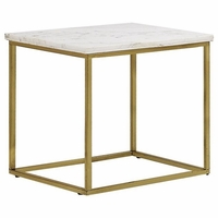 Isabelle Marble End Table With Tempered Glass Shelves