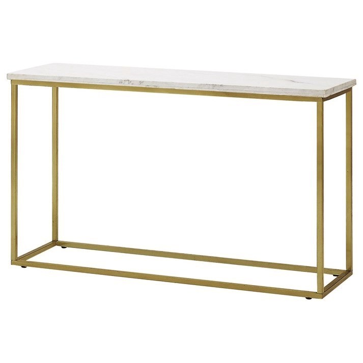 Isabelle marble sofa table with brushed brass legs for 65 sofa table