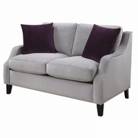 Isabelle Soft Grey Upholstered Feather Down Loveseat