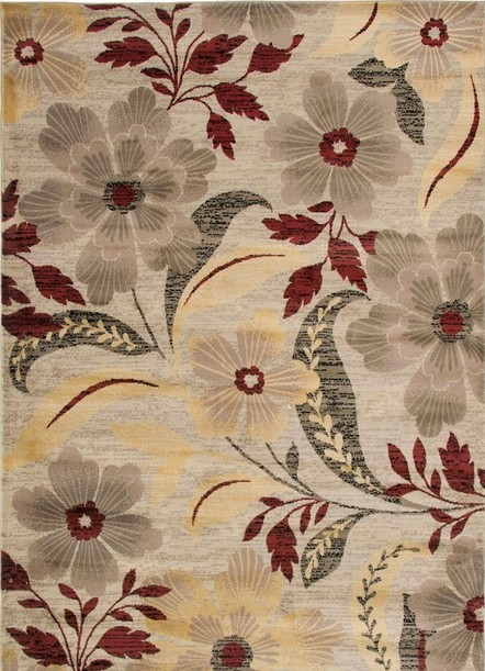 Rizzy Rugs Ivory Floral Power Loomed Area Rug Bayside BS3586
