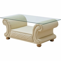 Ivory Leather Rectangular Glass Top Coffee Table Versachi Collection