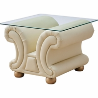 Ivory Leather Upholstered Glass Top End Table Versace Collection