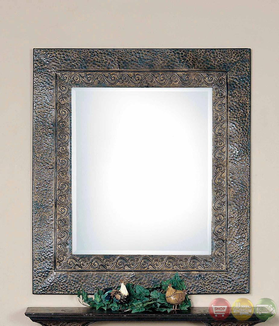 Jackson embossed scroll w dark rust brown metal framed for Metal frame mirror