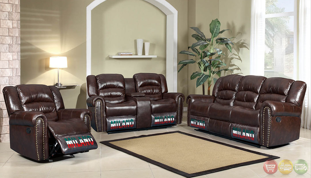 Jacob Brown Bonded Leather Motion Traditional Living Room Set W Nail Heads