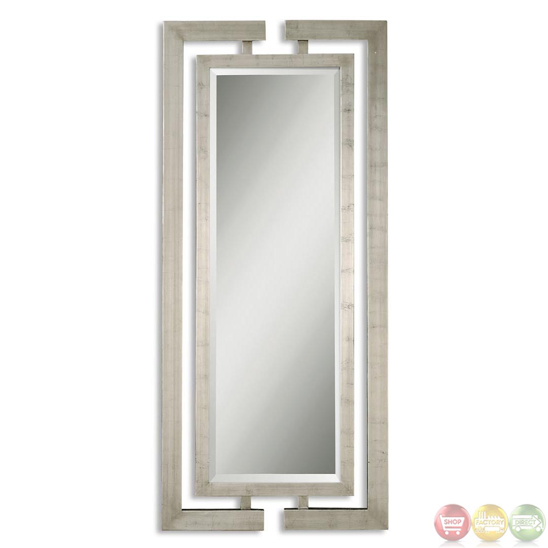 Jamal modern large metal silver mirror 14097 b for Large silver modern mirror
