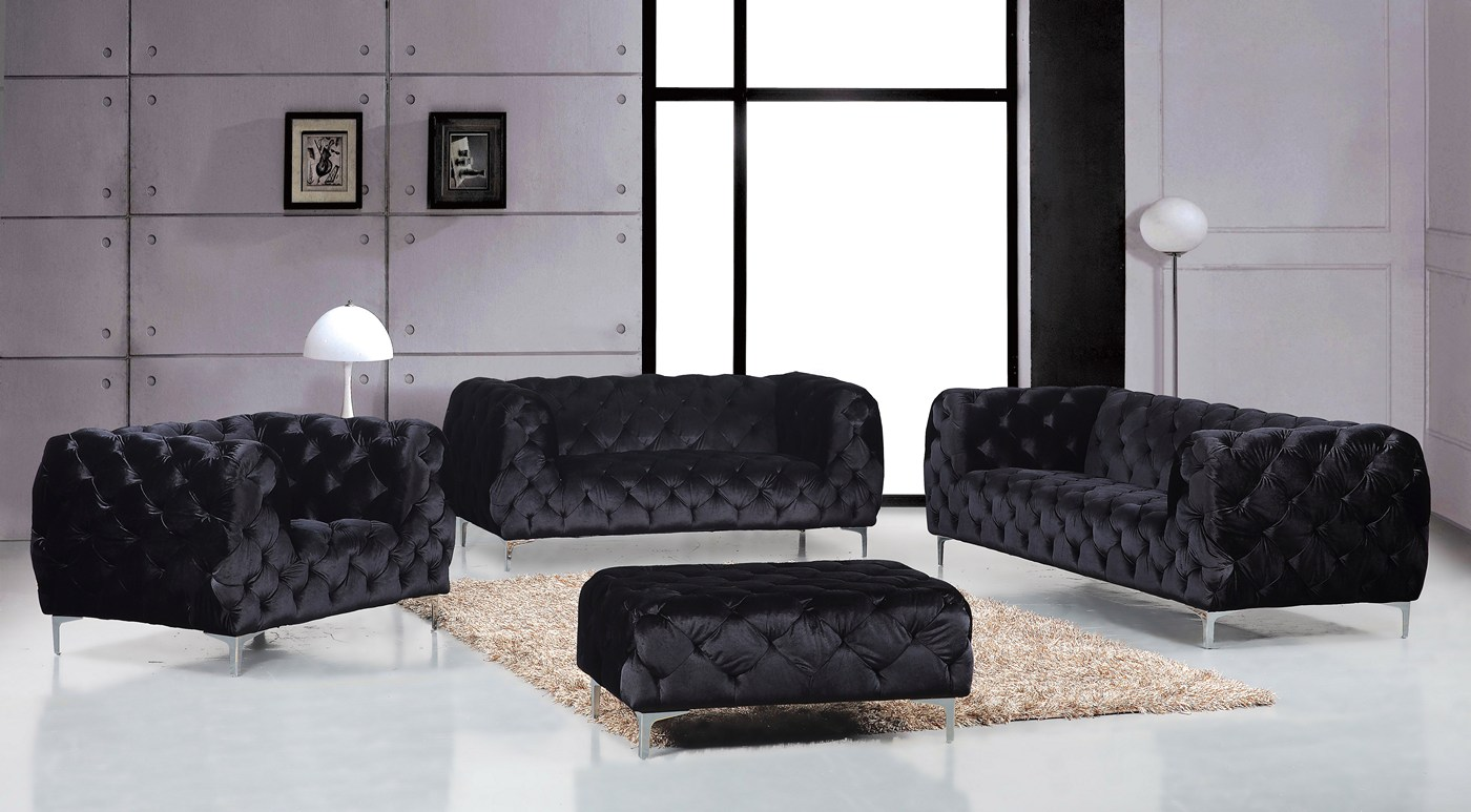 Jamari Contemporary Black Full Button Tufted Velvet Sofa