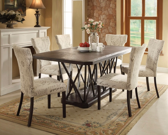 "Jamon  5-pc 76"" Rustic Chic Antique Black Wooden Top Dining Set w/ Metal Base"