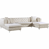 Jana Double Chaise Deep Tufted Cream Velvet 3pc. Sectional w/Chrome Legs
