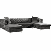 Jana Double Chaise Deep Tufted Grey Velvet 3pc. Sectional w/Chrome Legs