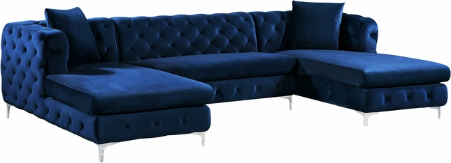 Jana Double Chaise Deep Tufted Navy Velvet 3pc. Sectional w/Chrome Legs