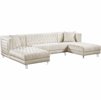 Janelle Deep Tufted Silver Nailhead Cream Velvet 3pc. Sectional w/Acrylic Legs