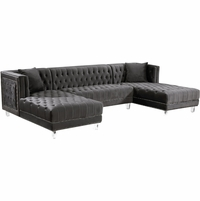 Janelle Deep Tufted Silver Nailhead Grey Velvet 3pc. Sectional w/Acrylic Legs