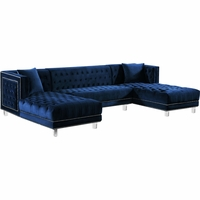 Janelle Deep Tufted Silver Nailhead Navy Velvet 3pc. Sectional w/Acrylic Legs