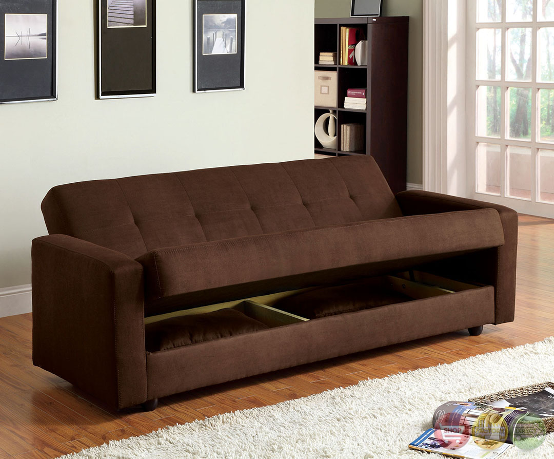 Jansen Contemporary Dark Brown Sofa Set With Microfiber Cm2804