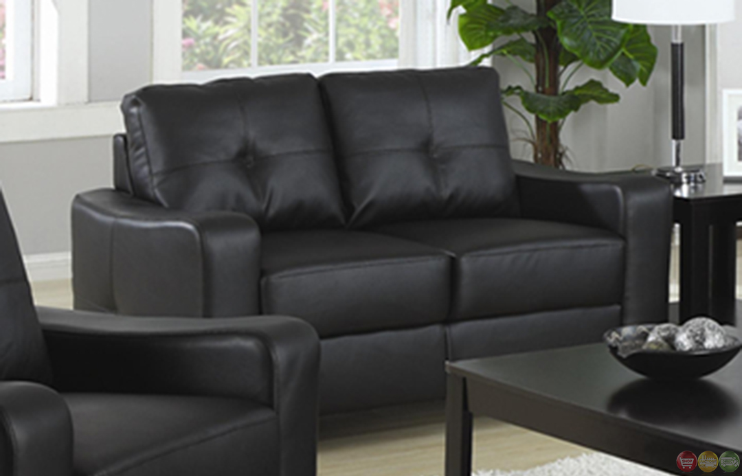 Jasmine contemporary black bonded leather sofa and for Black couch set