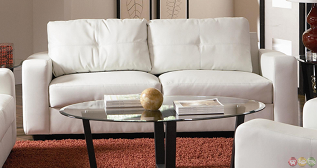 Jasmine Contemporary White Bonded Leather Sofa And Loveseat Set