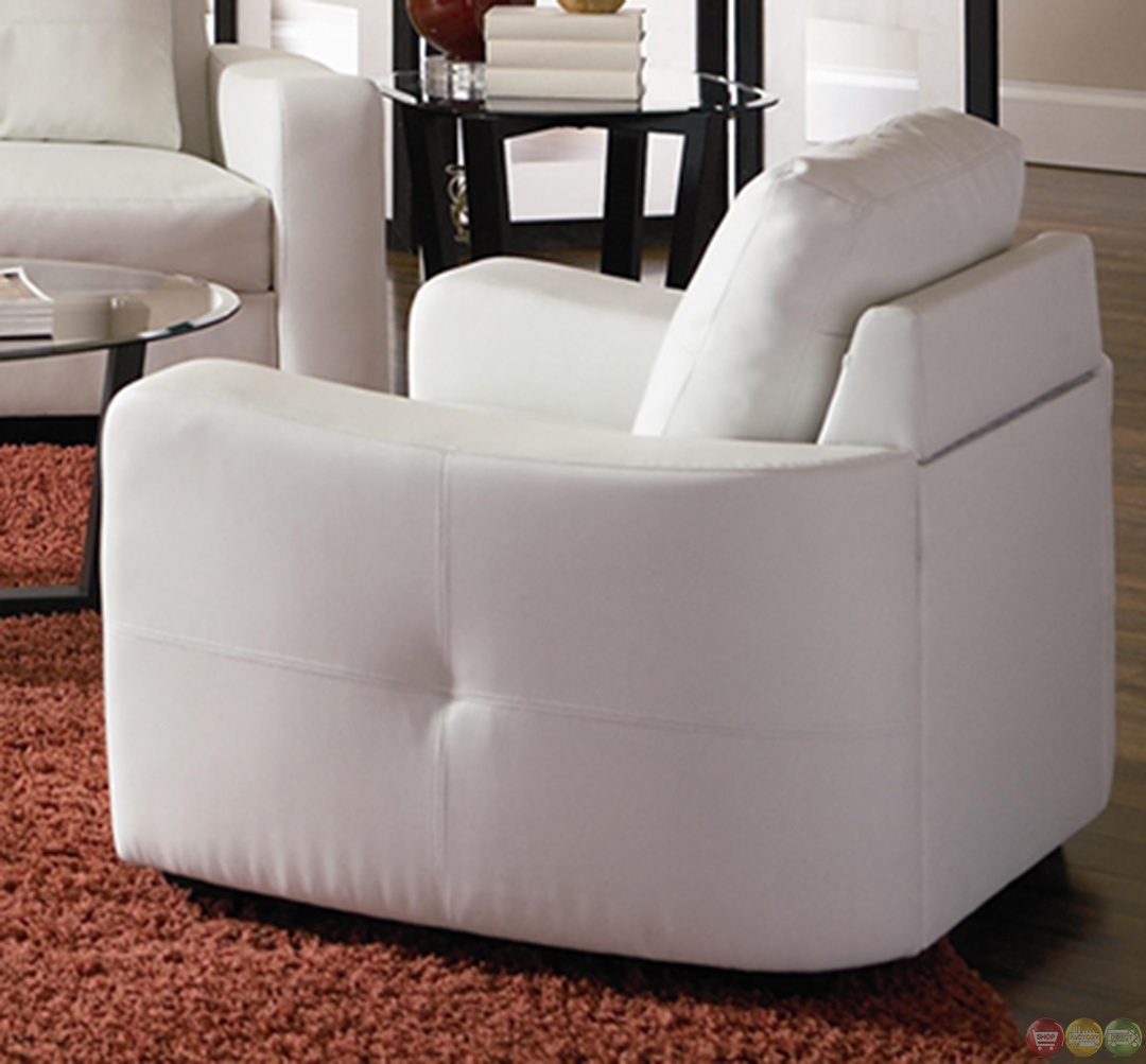 Jasmine Contemporary White Bonded Leather Sofa And