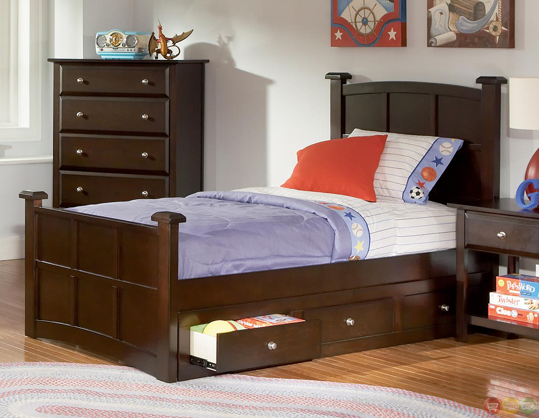 Jasper Cappuccino Panel Storage Youth Bedroom Set