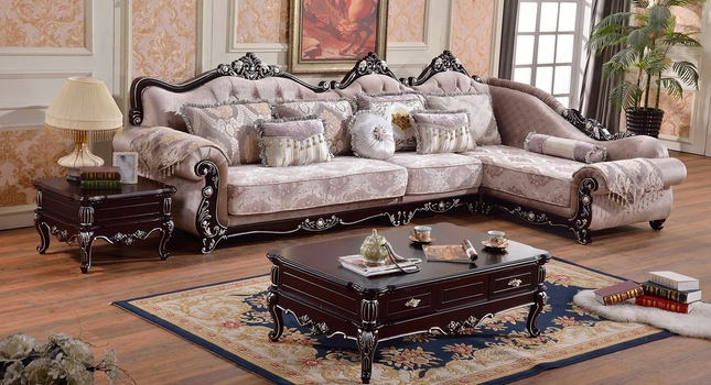 Jaylene Victorian Patterned Fabric 3Pc Sectional W/ Ebony Rich Wood Finish