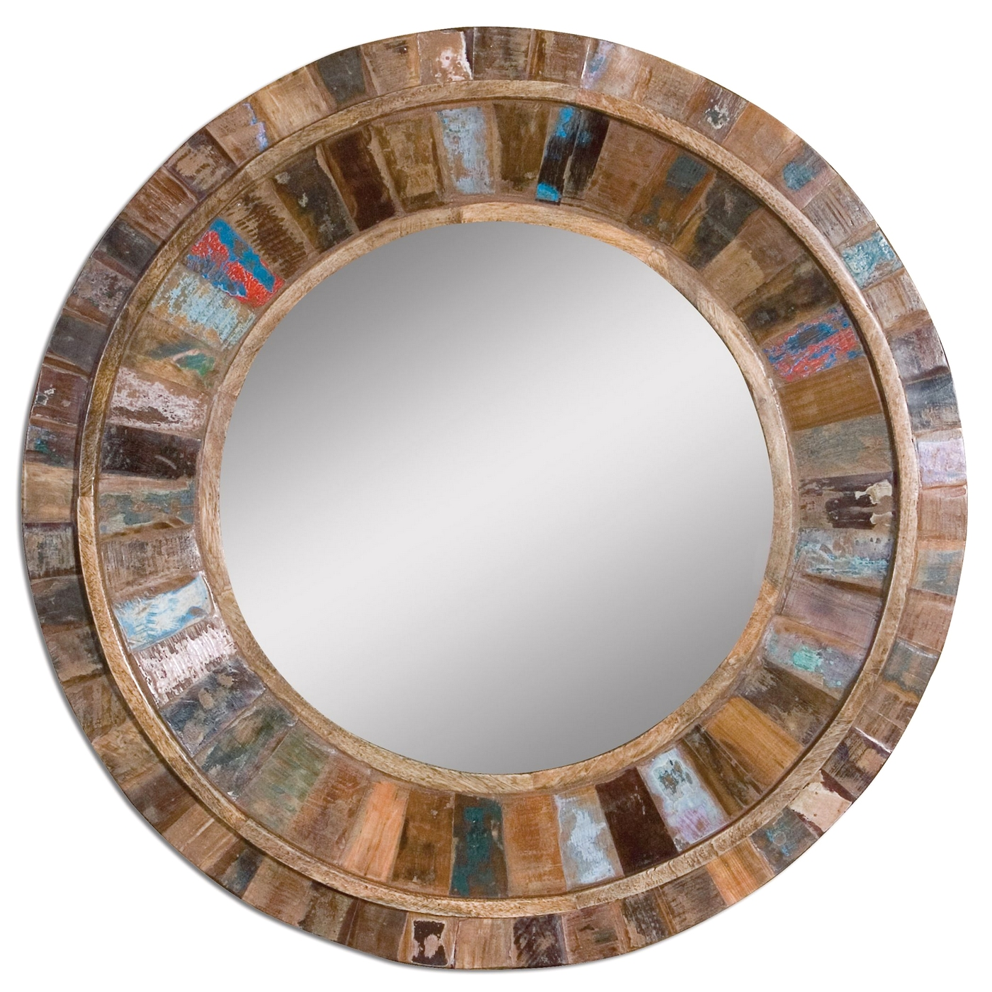 Details About Jeremiah Modern Round Reclaimed Wooden Mirror W Solid Mango Wood 32 X32