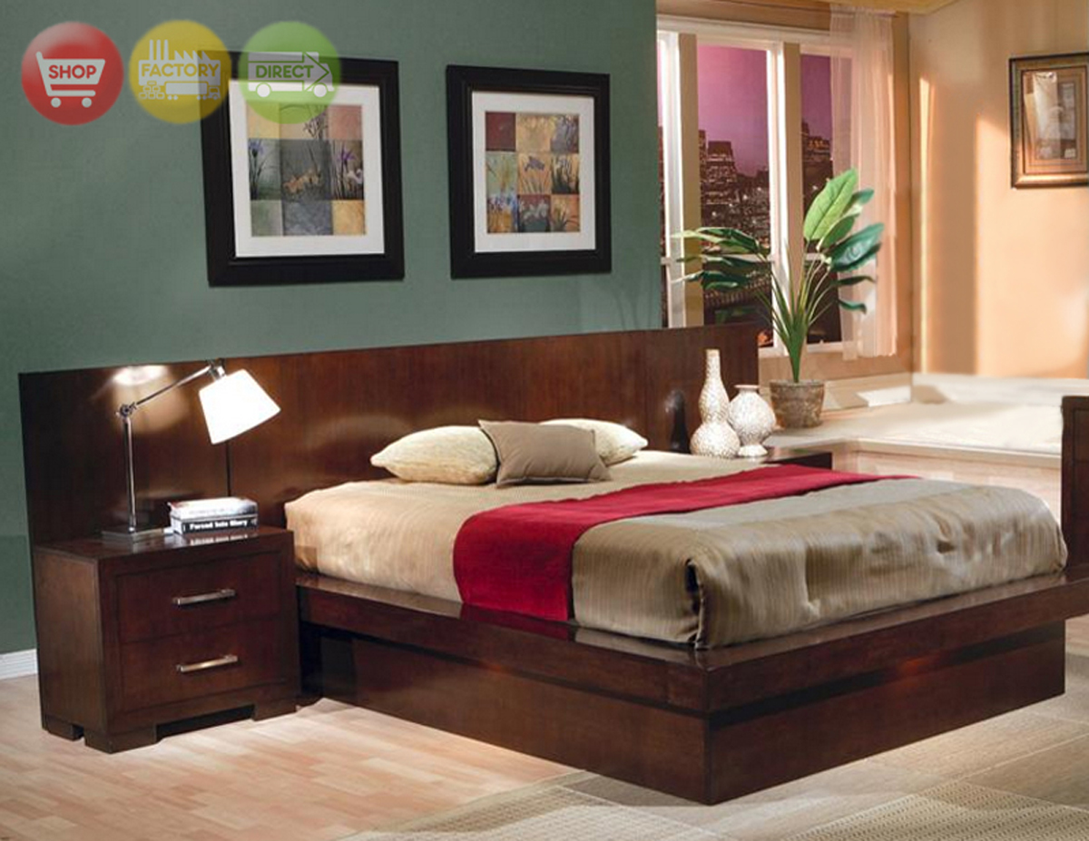 Jessica california king platform bed modern bedroom - Contemporary king bedroom furniture ...