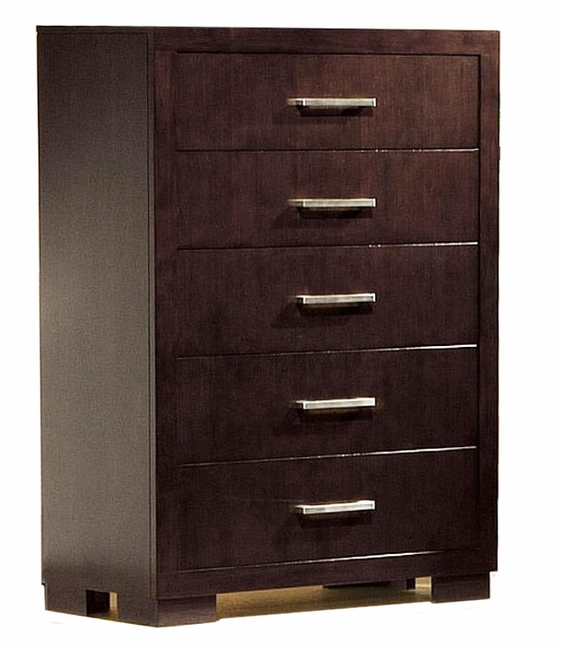 Jessica Contemporary 5 Drawer Chest Cappuccino Finish 200715