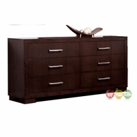 Jessica Contemporary 6 Drawer Dresser Cappuccino Finish Coaster 200713