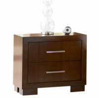 Jessica Contemporary Nightstand Silver Hardware Cappuccino Finish 200712