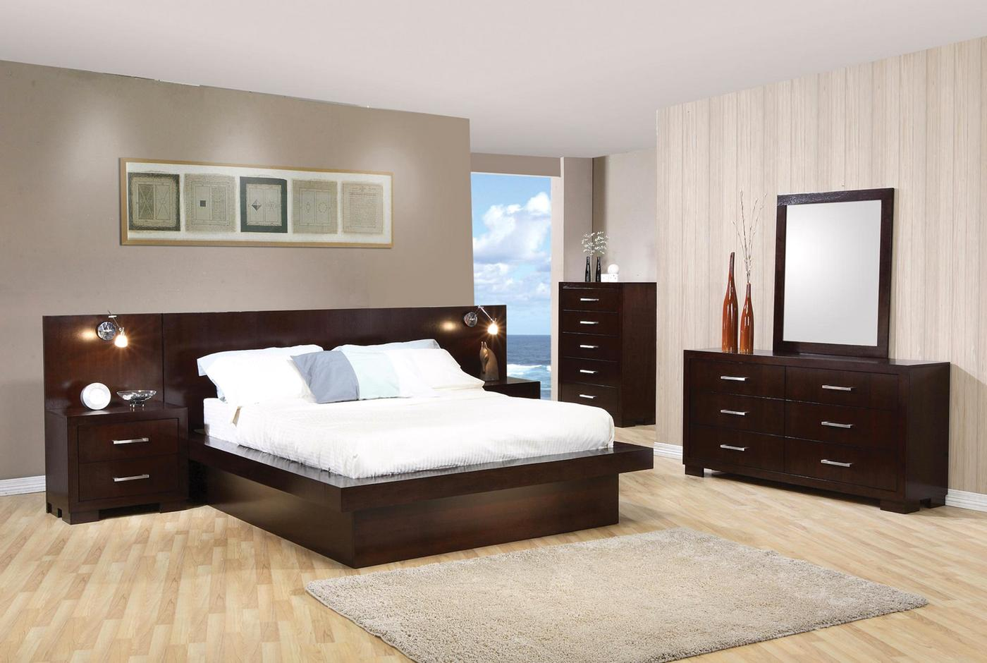 Jessica modern platform cappuccino finish bedroom set free shipping for Contemporary bedroom furniture