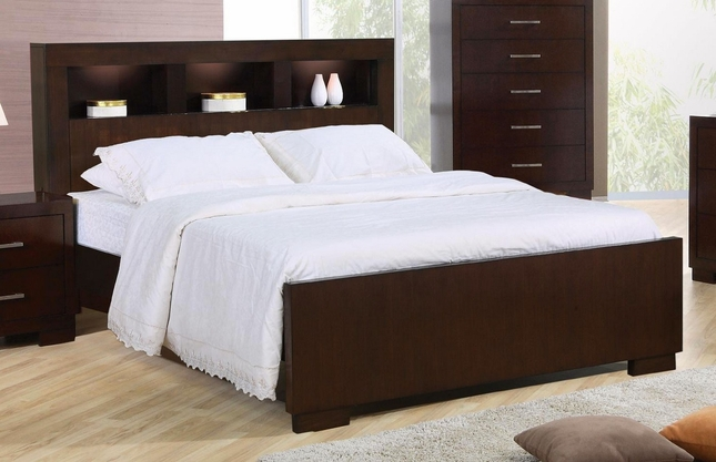 Jessica Queen Contemporary Bed Storage Headboard w/ Lights Cappuccino Finish : bedding storage furniture  - Aquiesqueretaro.Com
