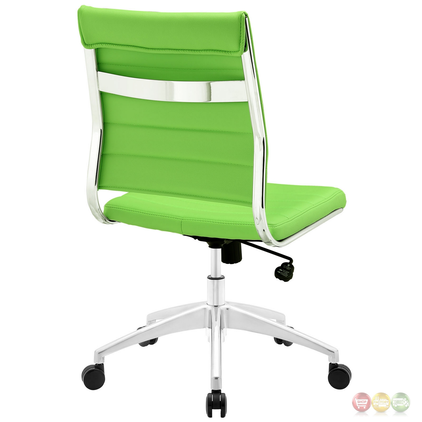 Jive armless upholstered ribbed vinyl mid back office for Armless office chairs