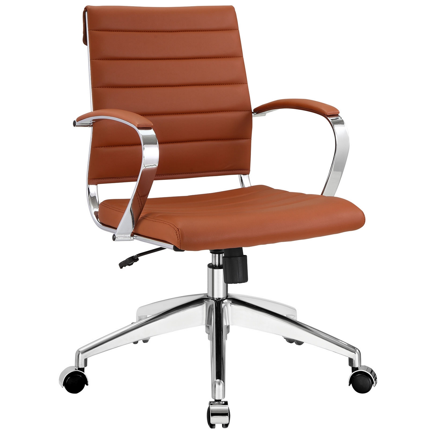 Jive Modern Mid-back Ribbed Vinyl Office Chair With Chrome ...