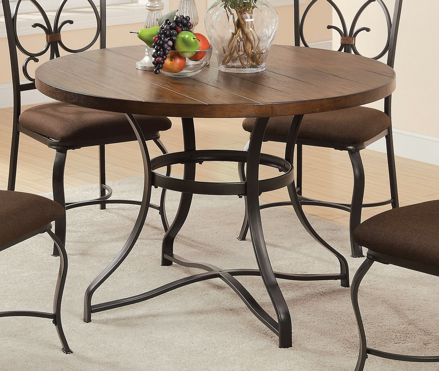 Jiya Rustic 44 Quot Round Dining Table W Cherry Amp Antique