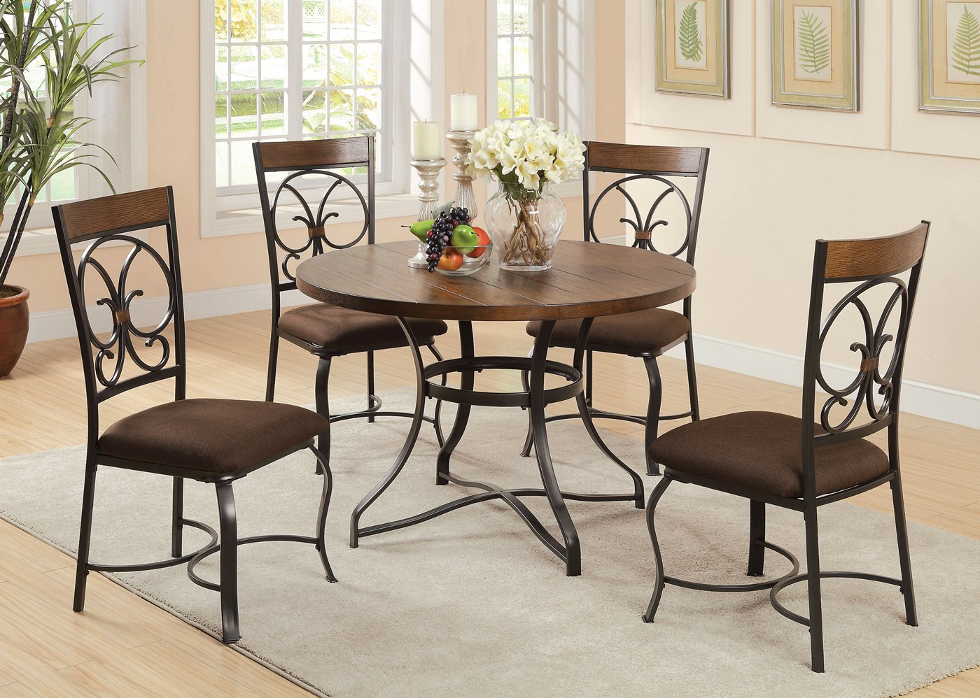 Jiya rustic 44 round dining table w cherry antique for 44 round dining table