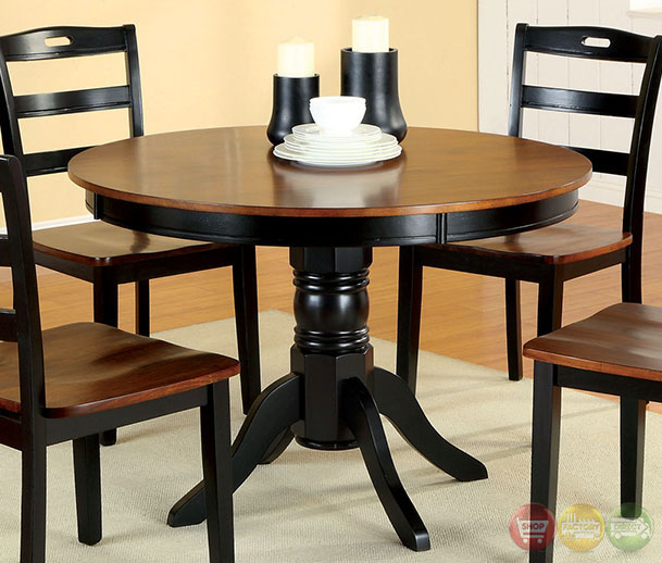 Casual Contemporary Dark Wood Dining Table Chairs Dining: Johnstown Antique Oak And Black Casual Dining Set With