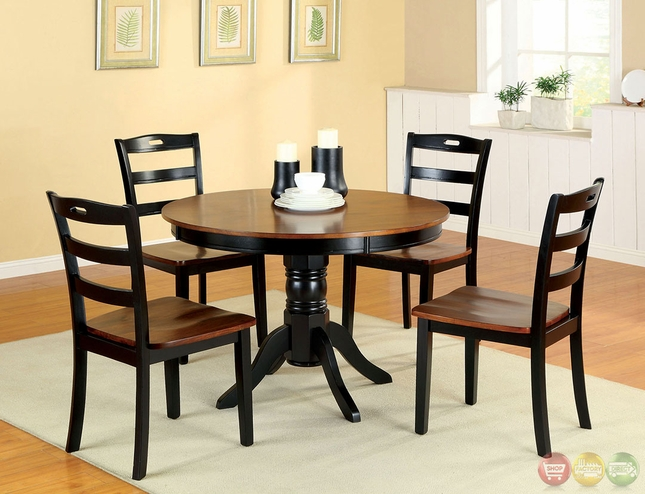 Johnstown antique oak and black casual dining set with for Casual dining table set