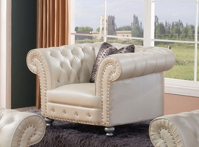 chesterfield chair glam crystal tufted chesterfield chair in beige bonded leather